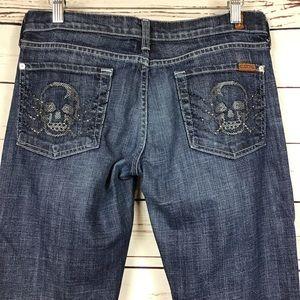 RARE [7FAM]CrossStitch Crystal Skull Bootcut Jeans